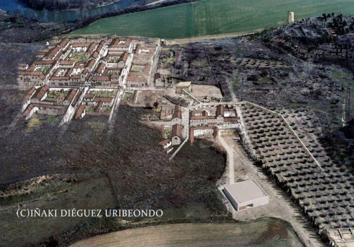 Andelos Mendigorría Navarra. Reconstrucción de la traza de la antigua ciudad romana altoimperial